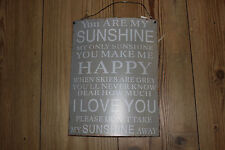 """ YOU ARE MY SUNSHINE "", VINTAGE DISTRESSED LOOK CURVED METAL PLAQUE"