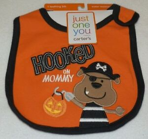 New Hooked On Mommy Teething Bib Water Resistant Halloween Carter's Pirate Dog