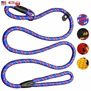 Lead Collar Dog Whisperer Cesar Millan Style Rope Slip Training Leash Nylon Blue