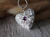 Purple CZ Heart Love Silver Color Picture Locket Pendant Statement Necklace