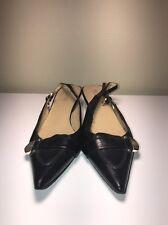 Michael Kors Brown Leather Sling Back Kitten Heel Pointy Toe Size 9