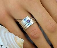 Amethyst Ring 925 Sterling Silver Spinner Ring Anxiety Silver Ring Women Ring
