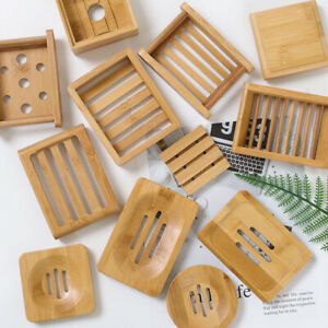 Bamboo Square Round Soap Dish Tray Soap Case Holder Mould Proof Drain Rack