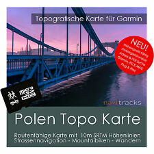 Polen Topo Karte 10m Höhenlinien 4GB microSD für Garmin Navi, PC & MAC