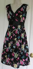 Mela Loves London Floral Print Cotton Sleeveless Cocktail Summer Dress S12/14 EC