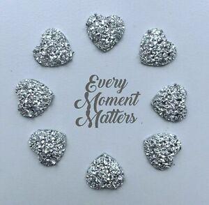 20 x SILVER HEART SHAPED RHINESTONE RESIN Flat Back Embellishments 12mm - 13mm