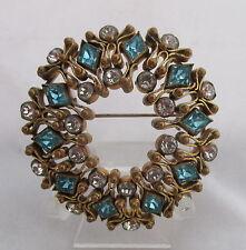 Old Bezel Set Ice Blue&Rhinestone Openwork Brass Hobe Style Circle Pin Brooch