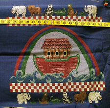 NOAH'S ARK TAPESTRY UPHOLSTERY COTTON FABRIC PANEL  18X17  INCHES  UNFINISHED