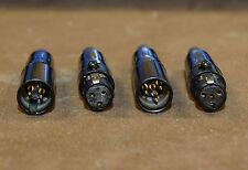 Connecteur mini-XLR noir 4 broches, contacts dorés gold pin, fiche type mâle.