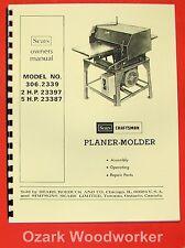 CRAFTSMAN 306.2339 Wood Thickness Planer Molder Instructions & Parts Manual 0862