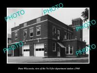 OLD LARGE HISTORIC PHOTO OF DANE WISCONSIN, THE FIRE DEPARTMENT STATION c1960