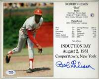 Bob Gibson PSA DNA Coa Hand Signed 8x10 Induction Photo Autograph
