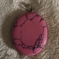 Natural Rhodonite cabochon with Sterling Silver Pendant