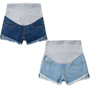 Maternity Women Fashion Denim Ripped Shorts Pregnancy Pants Summer Casual Jeans