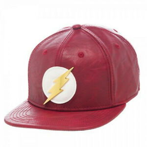 NWT NEW DC Comics The Flash Faux Leather Snapback Hat Cap Red Metal Logo OSFA