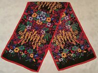 SCARF VINTAGE AUTHENTIC ABSTRACT FLORAL ART RED BLACK PURPLE SILK LONG WOMEN'S