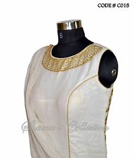 Bollywood Designer Indian Pakistani Stitched Saree-Shimmer off-white saree