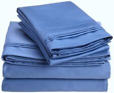(2) Luxor 100% Egyptian Cotton Pillowcases 800TC ~ Blue ~ Standard 20 x 30 NEW
