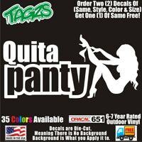 Quita Panty Dropper Funny DieCut Vinyl Window Decal Sticker Car Truck SUV JDM