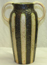 """Old Czech Arts & Crafts Ditmar Urbach Alienware Pottery 10.25"""" Handled Vase Lava"""