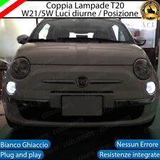 COPPIA LUCI DIURNE DRL POSIZIONE LED T20 W21/5W ABARTH 500 595 695 CANBUS 6000K
