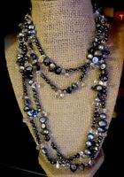 Black Abalone Shell 2x Single Strand Necklace Seed Beads-flawless-ships Free