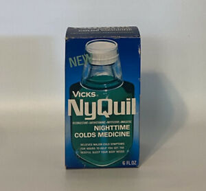 Vintage Vicks NyQuil 6 Oz Glass Bottle In Original Box With Paper & Measure Cup