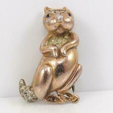 Vtg Sterling Silver Coro Craft Gold Vermeil 3D Squirrel Scarf Sweater Clip Lfd5
