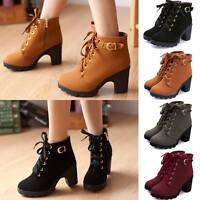 Winter Ladies High Heel Lace Up Ankle Boots Zipper Buckle Platform Shoes Autumn