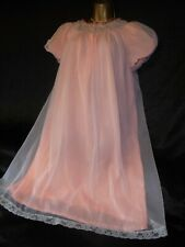 Amazingly 60s vtg double nylon nightie negligee 54 chest cd/tv peach