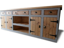 Wide Rustic Chunky Solid Pine Display Cabinet / counter Butchers Block Style Top