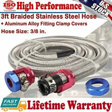 "3/8"" Hose 3ft Stainless Steel Flex Braid Gas Oil Fuel Line Repair Kit w/ Clamps"