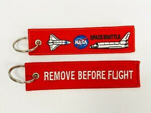 NASA Space Shuttle Remove before flight embroidered keychain/tag for Aviators