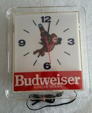 Vintage 1990 Budweiser Bud Man BEER Clock Light Advertising Wall Analog Man Cave