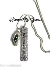 Two Peas in a Pod hand stamped Sweet Pea necklace with handmade peapod pendant