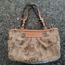 Coach Carriage Horse Tan East West Pleated Gallery Tote F14629~RARE~ Excellent!!