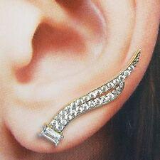 .80 carat baguet real14k yellow gold climber crawler spike earring 1 inch long