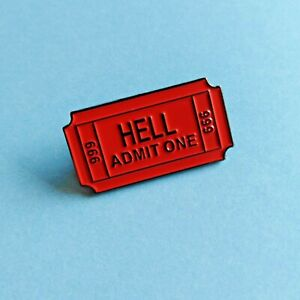 Ticket to Hell 666 Red Devil Satan Evil Enamel Pin Hell's Angels Lapel Badge