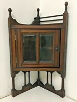 Antique Small Cottage Glazed Display Corner Cupboard