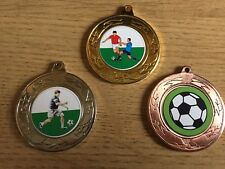 3 x FOOTBALL MEDALS (40mm) GOLD,SILVER & BRONZE-FREE ENGRAVING,CENTRES & RIBBONS