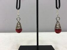 Earrings Silver Crystal Coral Dangle Etched Silver Teardrop Earrings E130