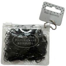 250 mini élastiques à cheveux noires polyuréthane - sachet avec fermeture