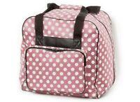 XL - Overlock-Tasche/Bag/Koffer:  B445 x H400 x T370 mm  rosa m.Punkten  # 3390