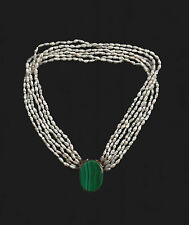 FRESHWATER PEARL 17 INCH NECKLACE WITH DETACHABLE MALACHITE CLASP PENDANT