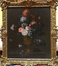 Fine Large 18th Century Dutch Old Master Flowers Still Life Antique Oil Painting