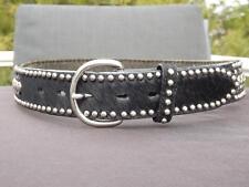 Ranger Silver Stud Pony Hair Black Western Cowboy Belt Size 32
