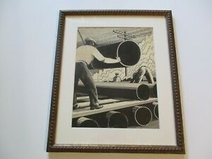 ANTIQUE AMERICAN PAINTING DRAWING  ART DECO REGIONALISM WPA FACTORY CONSTRUCTION