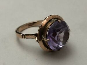 Antique 9kt Solid Rose Gold & Synthetic Alexandrite Large Victorian Ring s 7.75