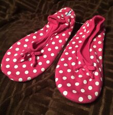 SNOOZIES Ballet Flat House Slippers  Small 5-6 PINK POLKA DOTS Spot non skid