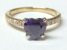 Heart Amethyst and Diamonds  ring 18ct yellow gold